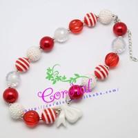 Cordial Design Latest Design Bead Kids Necklace Bubblegum Baby Red&White Popular Necklace