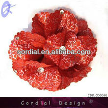 2013 Wholesale Fabric Artificial Red Flower With Diamond For Hair Accessory
