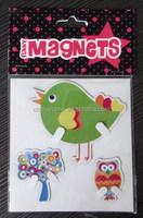 Owl, Bird and Tree Fridge Magnets