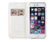 2015 Hot Selling Hello Kitty PU Leather Phone Case for Iphone6 With Card Slots