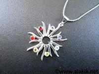 Chakra Burning sun cut stone with chain pendant