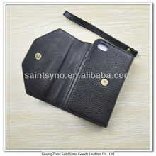 13028 Black men's leather mobile phone case for iphone 4S pouch