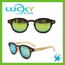 Vintage mirror lens sunglasses polarized full printing bamboo legs wooden sunglasses retro best selling 2015