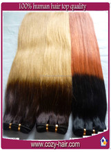 top quality ombre color hand tied pu hair weft