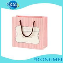 Vertical stripes design pink gift paper shopping bag