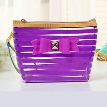 2015 PVC Cosmetic Bag with Color Trim Clear Vinyl Travel Makeup Bag Beauty Case Pouch
