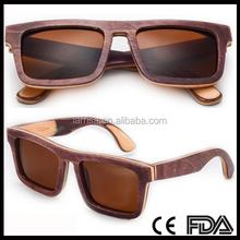 CD002 Flat Top Keyhole Stylish Polarized Wood Sunglasses