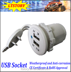 USB Charger Adapter Socket 12-24V Outlet Power Jack Marine Motorcycles