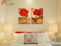 Red flower canvas painting designed by art home decoration designer