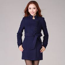 Slim new winter woolen coat with belt dark blue wool coat (45% wool) 3520 #