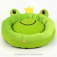 the latest new fashion soft pet nest detachable double cushion cute frog round hole pet bed