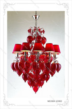 Modern Light Manufacturers In China, 10 Heads Decorative Red Glass Ball Chandelier