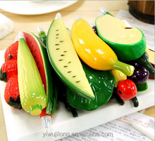 2015 China wholesale different fruit design plastic ballpoint pen with magnet for promotion and house