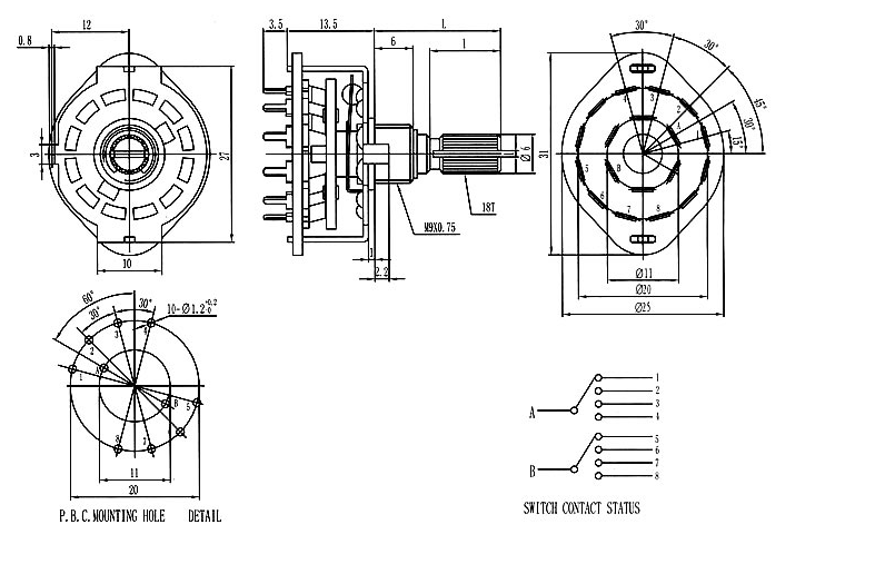 rs25 6mm shaft band selector rotary switch