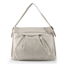 New product 2015 China wholesale trendy women sling shoulder bag with 2 front metal zip pockets