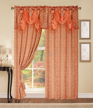 polyester yarn dyed circle design jacquard with gold raw material jacquard window curtain with fashion valance
