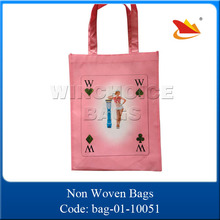 new quality pink poker printing non woven folding shopping bags