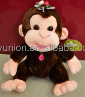 cute cartoon doll plush toy big mouth monkey with scarf as a gift for girl,plush hanging monkey