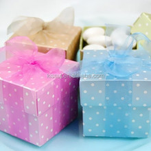 2015 Newest Polka Dot 2 Piece Square Baby Favor Boxes For baby Party and Baby Birthday Gift