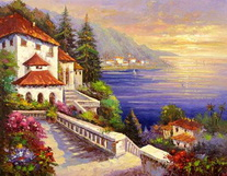 Artwork Mediterranean sunset oil painting canvas new product factory direct