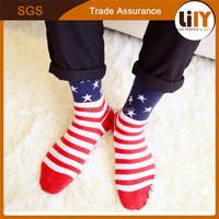 Socks manufacturers wholesale American flag socks design red men business socks