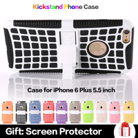 2 in 1 Kickstand Soft TPU Back Cover With Hard Bracket Multi Colors Phone Case for iPhone 6 Plus 5.5 inch
