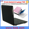 10 inch Android Mini Laptop Via8880 Dual Core 512MB RAM 4GB HDD WIFI Camera Bluetooth Kids Notebook 710D