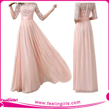 wholesale pink and white prom formal girls floor length dresses