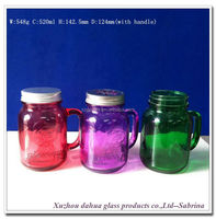520ml 18oz colored red green glass mason jar with handle and lids