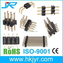2.54mm pin header strip connector single/dual/triple plastic straight/ right angle DIP type China factory