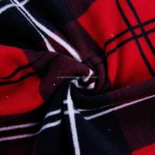 Tartan plaid anti pill fleece fabric