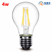 E27 4w 360Degree glass 400;lm A19 A60 Dimmable led filament lamps bulbs lights AC 110v / 220v