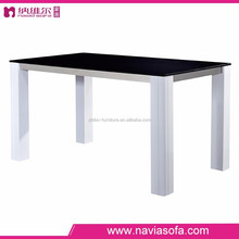 Dining room furniture fashion design Solid wood legs frosted Tempered Glass dining table 6 chairs set