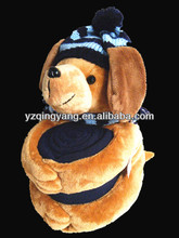 New arrival stuffed animal toy cute and lovely soft plush dog with hat holding a blanket toys for children