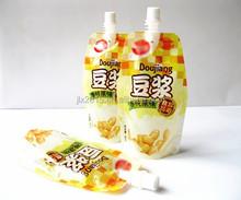 Liquid plastic packaging standing reusable food spout pouch/bag