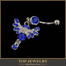 surface piercing jewelry Blue Rhinestone butterfly Belly surface piercing Navel belly Rings of the body jewelry