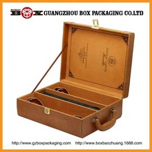 Solid high quality good 2 bottles wooden wine boxes