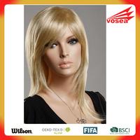 Blonde Curly Oblique Bangs Kanekalon ladies short hair wig