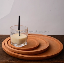 wholesale cheap gift small round finished wood tray plate for fruit vegetables