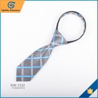 Polyester boys zipper neck tie checked design