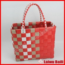 Handmade colorful PE woven plastic bag shopping