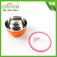 stainless steel keep fresh salad bowl with PP lid SS 201