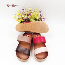ladies fashion slipper bi-color two wide strap high heel PVC blowing slipper elegant dating tourism shoes for girls