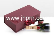 paper red wine box with ribbon close