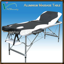 Beauty portable 3-section mixed color aluminum massage table