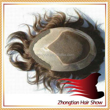 Top Quality Indian Remy PU + LACE wholesale human hair toupee