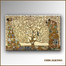 Popular abstract canvas art of golden tree painting