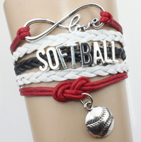 Infinity Love softball Team NCAA Bracelet Red white Customized friendship Bracelets