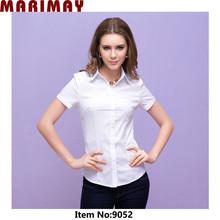 Vendedor caliente slim fit blusa de mujer moda elegante manga corta