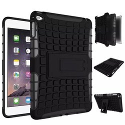For iPad Mini 4 Tire Layer Shockproof Dual Layer Grip Defender Armor Case Heavy Duty Combo Hybrid Phone Cover Build-in Kickstand